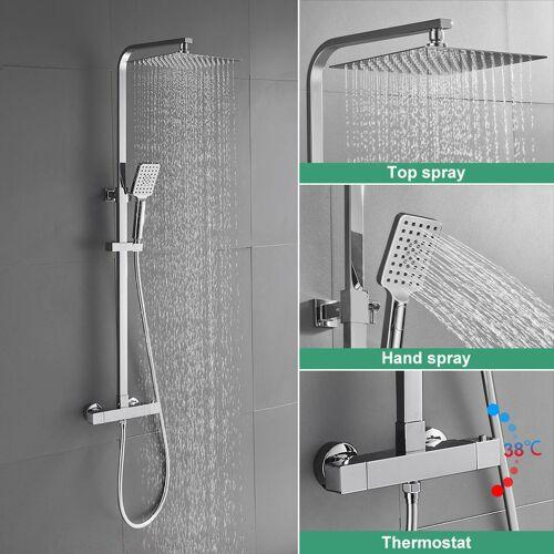 IHOUSE BONADE Duschsystem mit Thermostat Duschset 10 zoll Regendusche