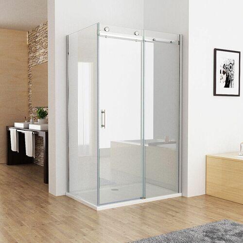 MIQU Duschkabine 100 x 76 cm Eckig Dusche Schiebetür Duschwand mit 8mm NANO