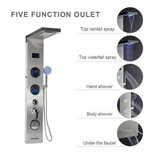 OOBEST Duschpaneel LCD Wasserfall Duschsäule Duschset Regendusche Massage