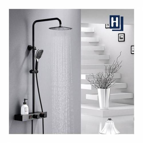 HOMELODY Duschset Duschsystem Schwarz Regendusche mit Kopfbrause und 3