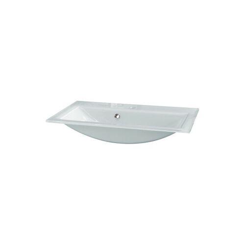 FACKELMANN Waschbecken 80 cm aus Glas in weiß-'86295' - Fackelmann