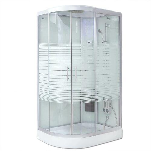 HOME DELUXE Dampfdusche White Pearl (Cr) 120x80 cm (links) mit Dampf I Duschkabine,