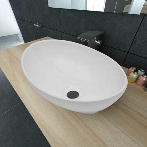 HOMMOO Luxus Keramik Waschbecken Oval Weiß 40 x 33 cm - Hommoo