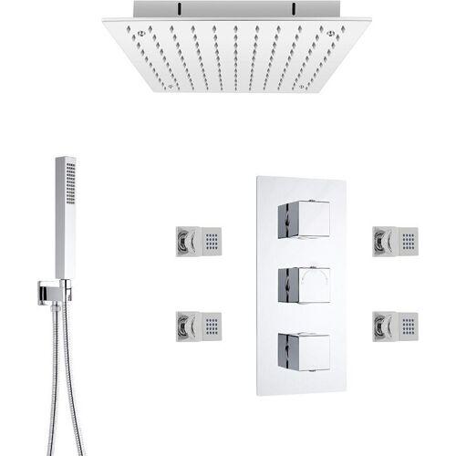 Hudson Reed Kubix - Thermostatarmatur, Wasserfall-Regen-Duschkopf und