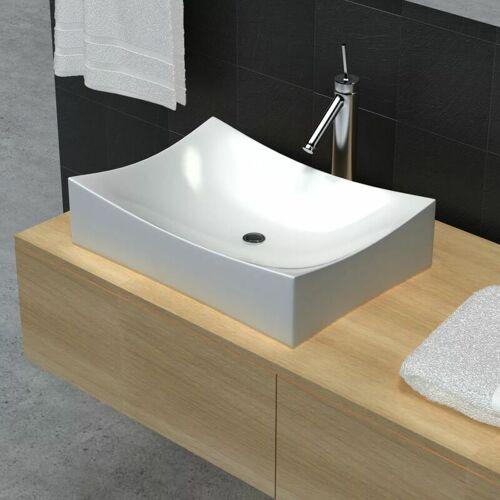 ZQYRLAR Keramik Porzellan Waschtisch Waschbecken Hochglanz Weiß