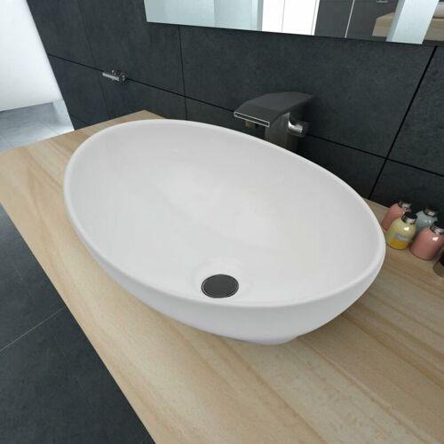 Betterlife - Luxus Keramik Waschbecken Oval Weiß 40 x 33 cm