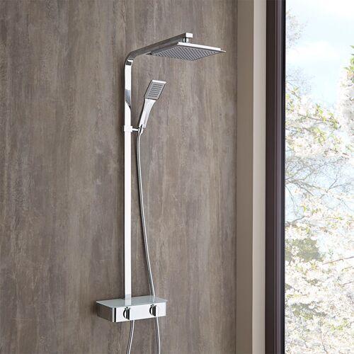 Hudson Reed - moderne Duschsäule Aluminium mit Ablage - Jetty