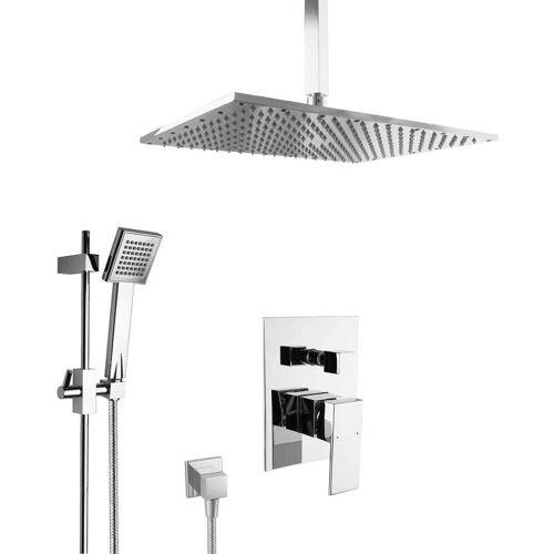PAULGURKES Unterputz Set Dusche mit Duschstange Messing Regendusche