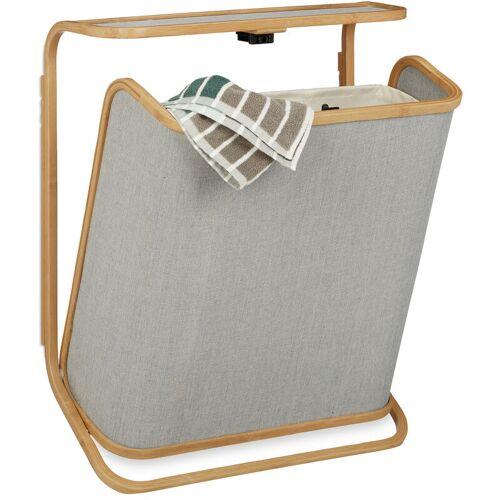 RELAXDAYS Wäschekorb für die Wand, aufklappbarer Wäschesammler aus Bambus, 40 L,
