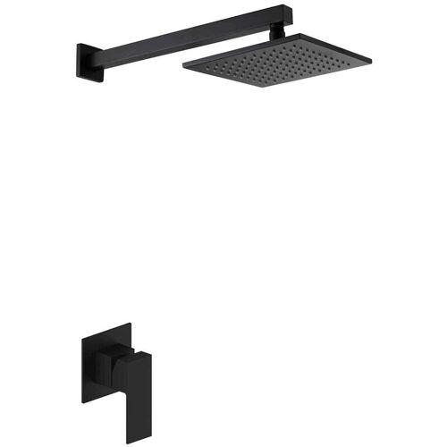 KROOS® Schwarzes quadratisches Duschset mit schwarzem Duscheinsatz