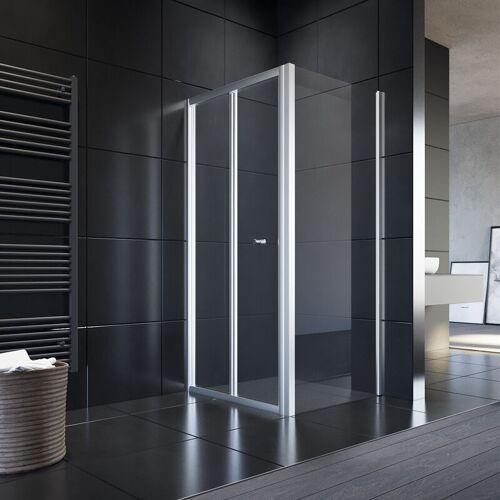 SONNI Duschkabine Falttür Duschwand glas faltbar für Badezimmer 100x80cm mit