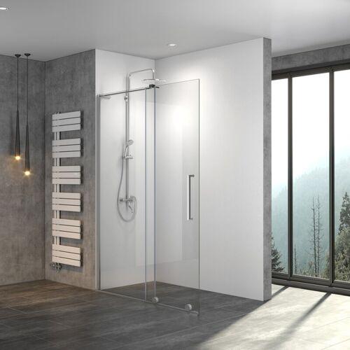 STEINHIRSCH Walk In Dusche Schiebetür 8mm ESG Klarglas mit Nano Beschichtung BxH
