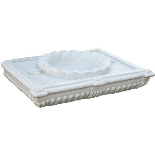 Biscottini - Waschbecken aus weißem Marmor, festoniert L80XPR18XH56 CM