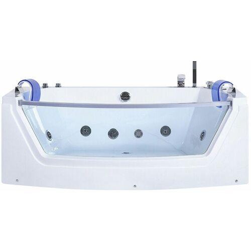 BELIANI Whirlpool-Badewanne Weiß mit Farblichttherapie Wasserfall Sichtfenster