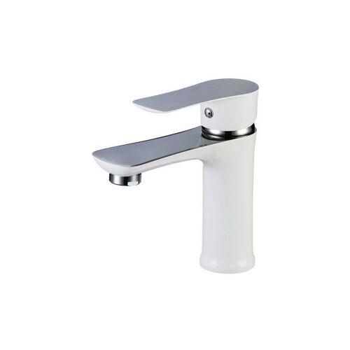 Zeitgenössische weiße Handwaschbeckenarmatur mit geschwungenen Linien