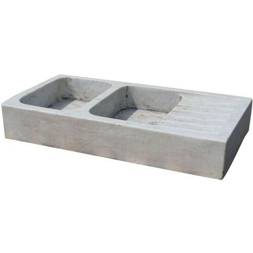 Biscottini - Waschbecken aus weißem Marmor L122xPR61xH20 cm