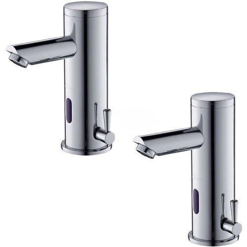 AURALUM 2er Wasserhahn Bad Automatischer Waschbecken-Mixer mit
