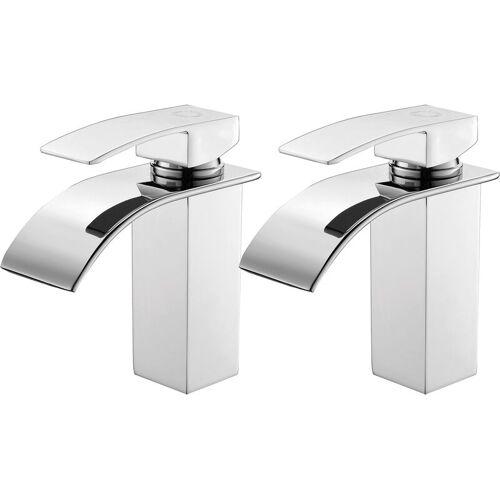 Auralum 2er Wasserhahnn Bad für Waschbecken Wasserfall Wasserhahn Küche