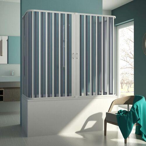 IDRALITE 3-seitige Badewannenaufsatz Duschkabine in PVC 70x140x70 CM H150 mod.