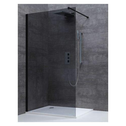 ALONI Walk-In Duschwand schwarz 900x2000mm Rauchglas 8mm Duschglas