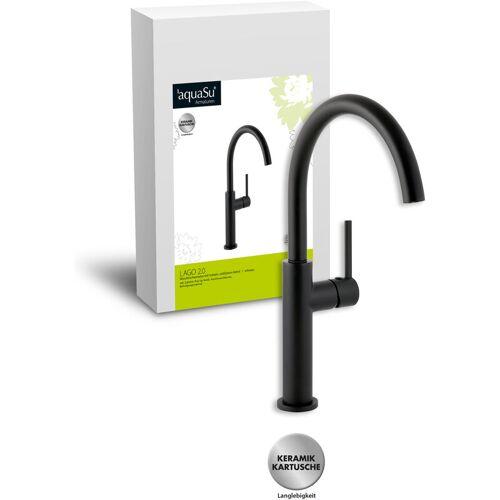 AQUASU ' ® Schwenkbare Waschtischarmatur Lago 2.0 in schwarz mit Pop-Up