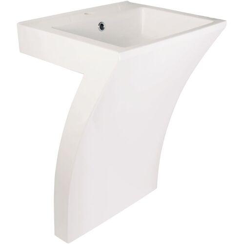 AQUASU ' ® Waschtisch Numero   Mineralguss   55 cm   Weiß   Waschbecken