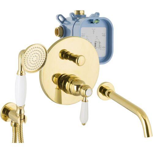 Paulgurkes - Armaturen Gold Set für Badewannen Unterputz Wanneneinlauf