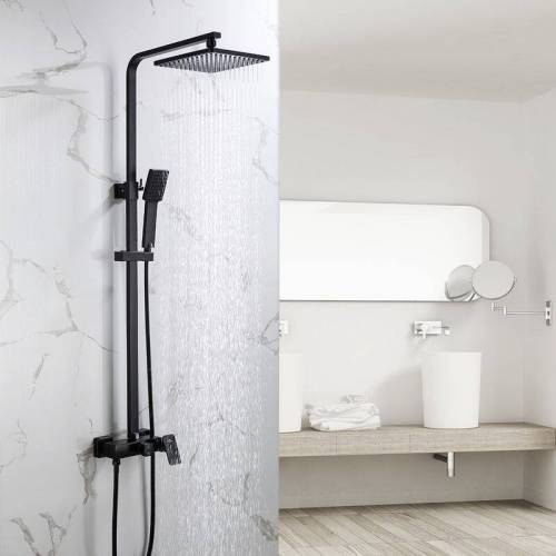 Auralum Duschset Duschsystem Schwarz Luxus Leichter Moderner
