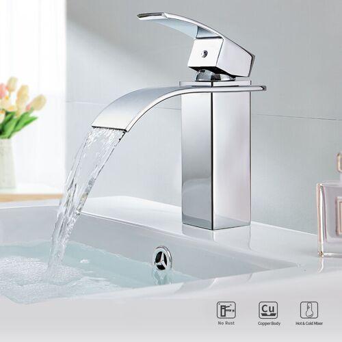 AURALUM Badarmatur Wasserfall Bad Wasserhahn Waschtischarmatur Mischbatterie