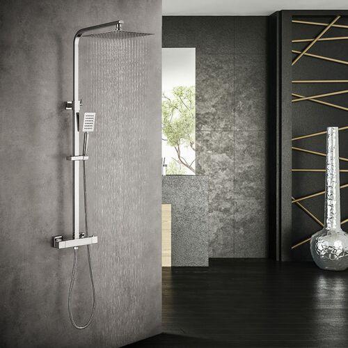 AURALUM Duschset Regendusche Duschsystem mit Thermostat Regenduschset