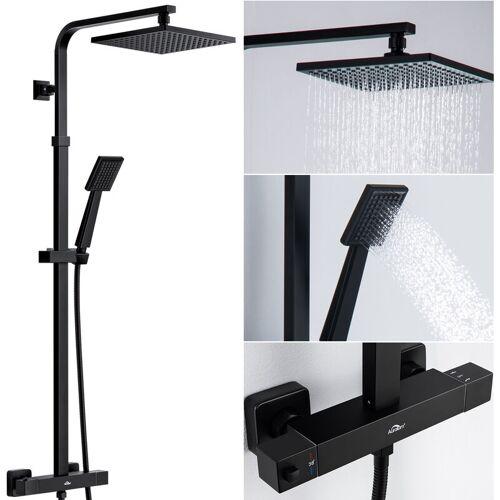 AURALUM Duschsystem Duschset mit Thermostatmischer Badezimmer WC Duschsäule