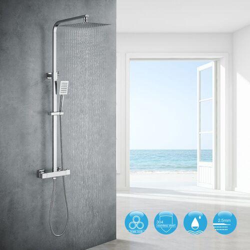 AURALUM Duschsystem mit Thermostat 10 Zoll Duschsäule Regendusche Duschgarnitur