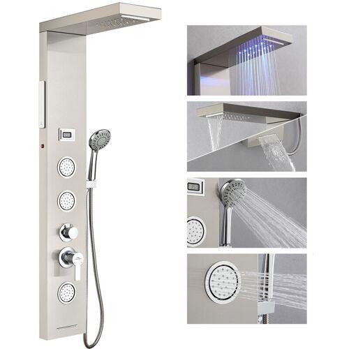 AURALUM LED Duschpaneel Regendusche ohne Armatur, Edelstahl Duschset mit