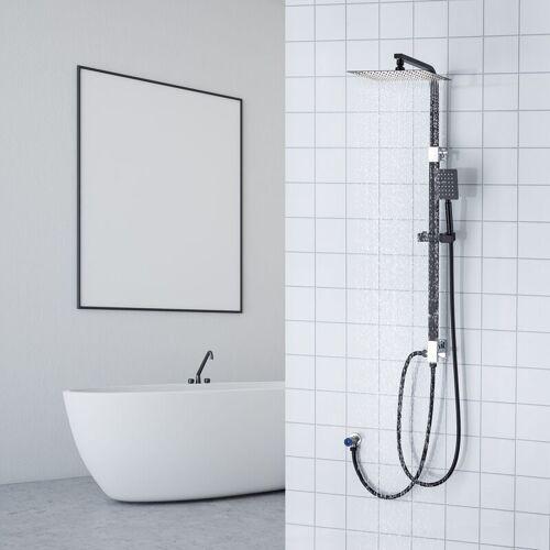 AURALUM Schwarz Duschsystem Duscharmatur Duschset Duschsäule mit