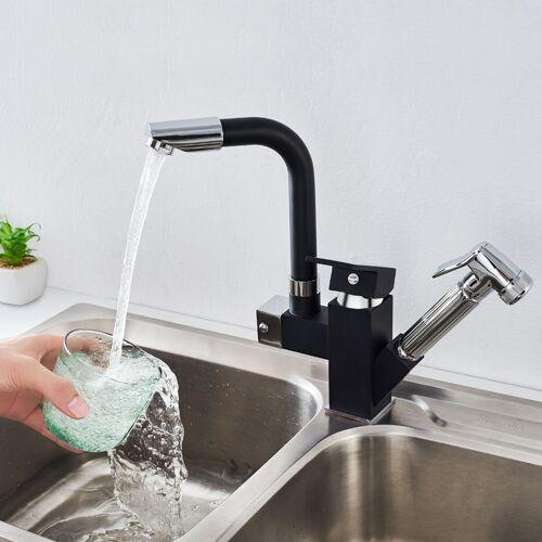 Auralum schwarz Küchenarmatur 360° drehbar Wasserhahn Küche Armatur