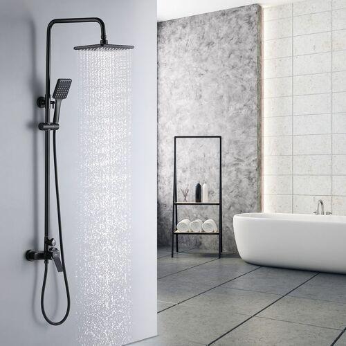 AURALUM Schwarz Regendusche Duschset Duschsystem Ohne Thermostat Regenduschset
