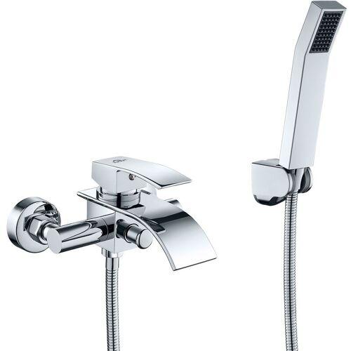 AuraLum Wannenarmatur Chrom Wasserfall Badewanne Wasserhahn