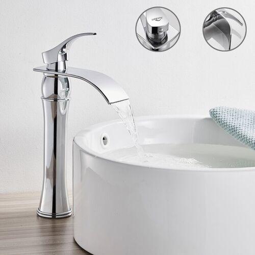AURALUM Wasserfall Bad Waschtischarmatur Chrom Wasserhahn Badarmatur