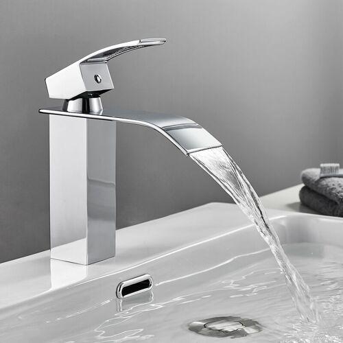AURALUM wasserhahn bad Chrom Kaskaden Wasserhahn aus Edelstahl - Auralum