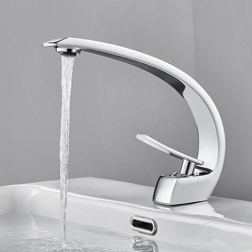 AURALUM Wasserhahn Bad Gebogener Wasserhahn Chrom Wasserhahn