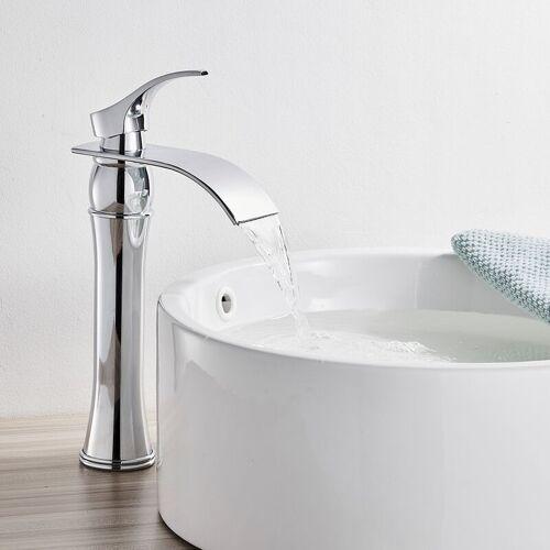 AURALUM Wasserhahn Bad Wasserfall Wasserhahn Chrom