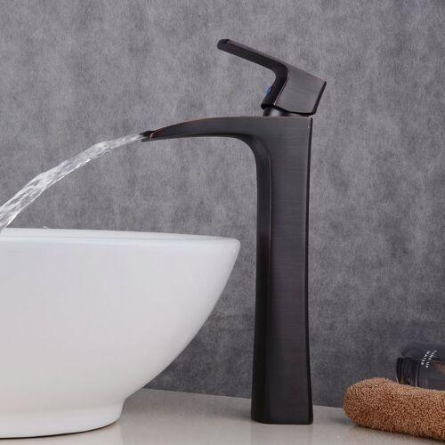 HQB® Badarmatur modern, für das Waschbecken, Antik-Messing, Höhe Armatur für