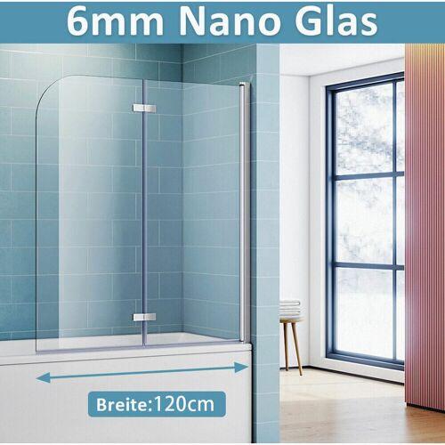 SONNI Badewannenaufsatz mit 6mm NANO ESG Glas Badewannenfaltwand Duschwand