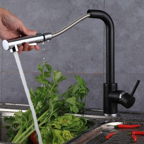 BATHRINS ®Wasserhahn Küche J-Form Küchenarmatur Wasserhahn ziehen - Badarmatur,