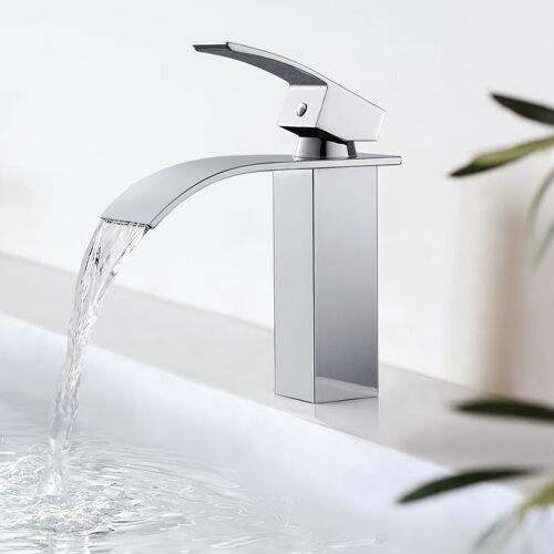 IHOUSE BONADE Badarmatur Wasserfall Wasserhahn Chrom Waschtischarmatur für Bad