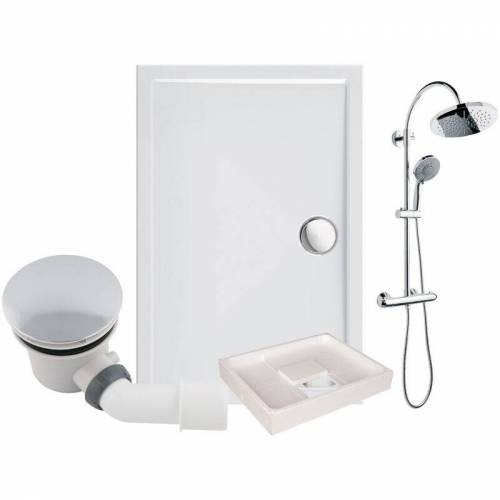 CALMWATERS ® - Modern Select - Bodengleiche Dusche in 120 x 80 cm im Set mit