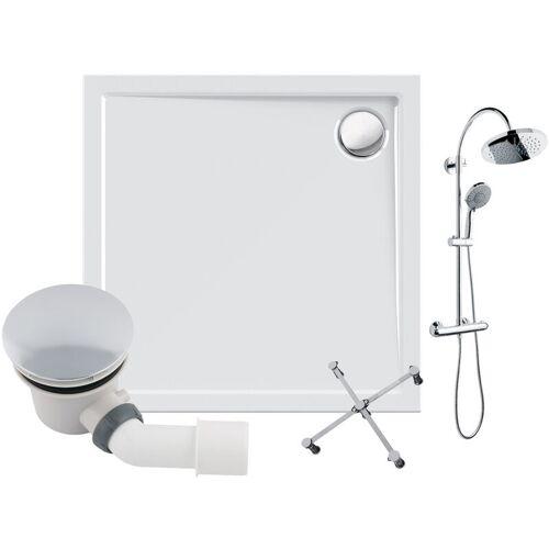 CALMWATERS ® - Modern Select - Bodengleiche Dusche in 80 x 80 cm im Set mit