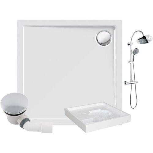 CALMWATERS ® - Modern Select - Bodengleiche Dusche in 90 x 90 cm im Set mit