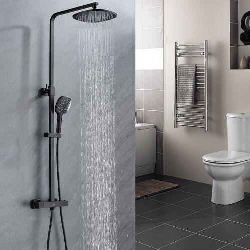 CECIPA Duschsystem mit Thermostat Thermostatische Dusche Runde Röhre schwarz