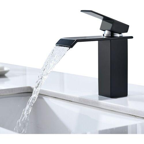 CECIPA Wasserhahn Bad Eleganter schwarzer Chrom Messing Wasserfall Wasserhahn